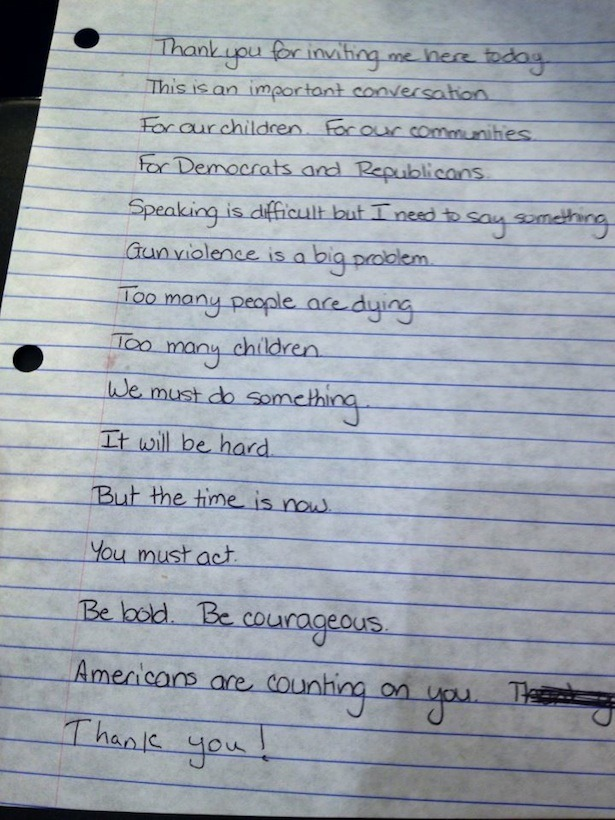 theatlantic:  Gabby Giffords's Handwritten Notes for Her Testimony to the Senate Judiciary Committee [Image: Americans for Responsible Conclusions]