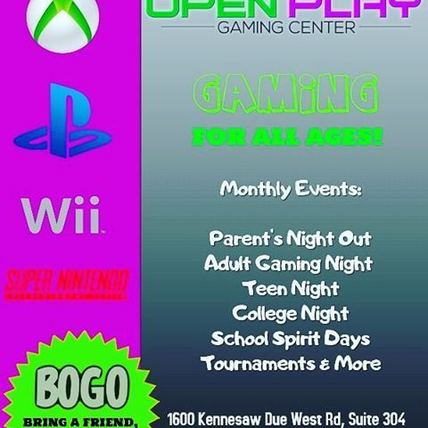 Hey parents! Our monthly PNO is this Saturday from 530p-10p. Go to our website and sign yours up today! #pno17 #gaming #parents #night #out #play #nightout #weplayallday #at #openplaygc  (at Open Play Gaming Center) #play#night#out#parents#pno17#nightout#at#gaming#openplaygc#weplayallday
