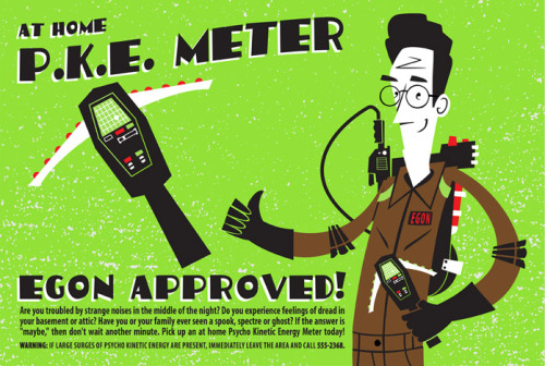 "P.K.E. Meter by Doug LaRocca / Blog / Store 10.5"" X 15.5"" 4 colour screen print, edition of 40. Part of the Gizmos and Gadgets art show at the Bottleneck Gallery / Facebook."