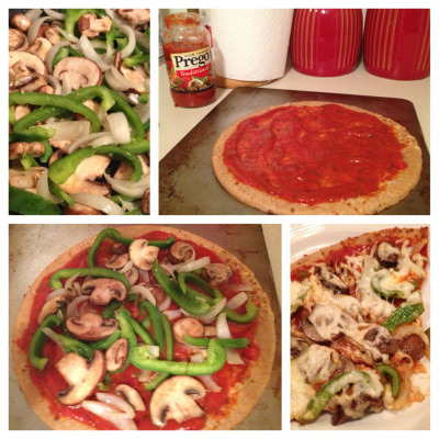 Time to get back to my pizza roots with a healthy, homemade, veggie pizza. Things I learned: 1. I used a lot of evoo to sautée the onions and mushrooms. I made a later pizza with steamed broccoli and baked chicken, which eliminated all of the oil! 2. My first attempt I used the whole wheat Boboli crust on a cookie sheet. It wasn't as crispy as I like, so the second time I used the regular thin crust directly on the oven rack and it turned out perfect! 3. One Boboli pizza crust says it serves 6. That's a lie. It makes 3 servings. 4. Finally, your options are endless so it can be a lot of fun to experiment! Plus, it's so much cheaper and healthier than delivery pizza that we should really all be making it ourselves all the time. Enjoy!
