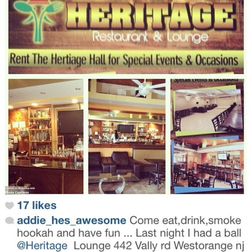 Come watch the game tonight Heat vs Pacers  at  The Heritage Sports Bar Restaurant & Lounge 442 Valley Road, West Orange, NJ 07052