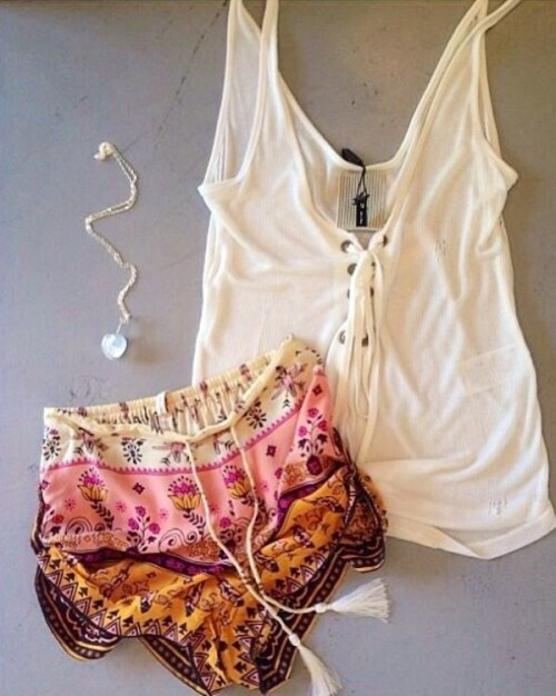 shorts silk shorts silk bohemian shorts multicolor pink white orange fashion wheretoget