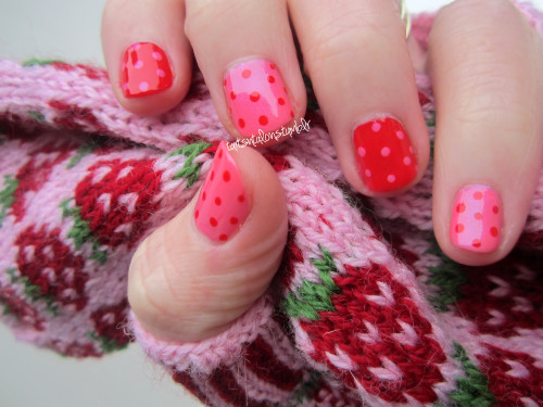01.22.13 I knit myself some strawberry mitts and wanted my nails to match. Finger Paints My Art Belongs To You Orly Haute Red
