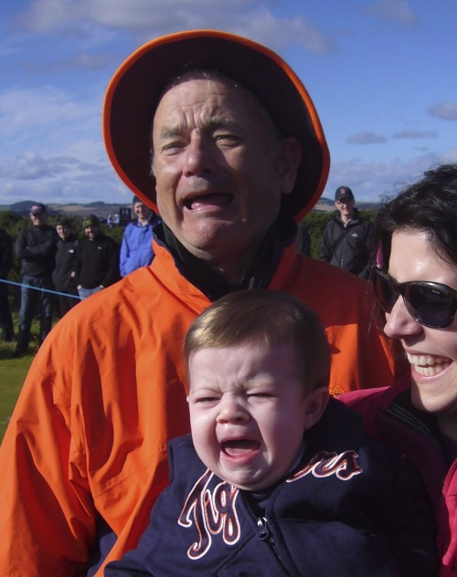 reasonsmysoniscrying:  He met Bill Murray. Submitted by: Laura R.Location: St. Andrew's, Scotland   The baby Bill Murray are cute and all, but I'm really only reblogging this because I am going to be in St. Andrews in FOUR DAYS!!!!!