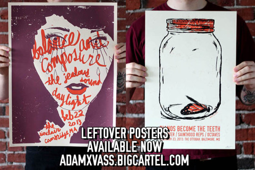 adamxvass:  Leftover posters from the shows this weekend are now up in my webstore. They are all signed and numbered one time editions. Not many left of them so act fast. If you slept on them at the venue, or couldn't make the show, here is your chance. Don't forget the poster tube sale, check adamxvass.com if you missed that.   Buy this from a hardworking man. Plus they look amazing in person.