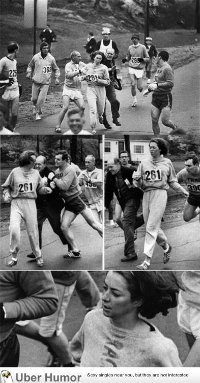 meme-rage:  Pictures of Kathrine Switzer running marathon five years before women were allowed to.http://meme-rage.tumblr.com