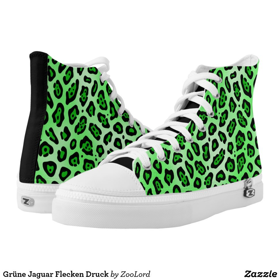 Grüne Jaguar Flecken Druck High-Top Sneakers - Unique Canvas Shoes With Interchangeable Tops  External image  Buy This Design Here: Grüne Jaguar Flecken Druck High-Top Sneakers Created by Fashion Designer: ZooLord Look sporty, stylish and elegant in a pair of unique custom sneakers! Each pair of custom Low Top ZIPZ Shoes is designed so you can fit your style to any wardrobe, mood, party or occasion. Fashionable sneakers for kids and adults, ZIPZ shoes give you a unique and personalized way to express yourself!Grüne Jaguar Flecken Druck High-Top Sneakers Product Information - Unisex sizing: 4-13 Men's | 6-15 Women's - Material and fabric: Durable canvas tops, rubber soles - Buy multiple pairs! ZIPZ shoes are interchangeable, the top cover can be zipped on and off so you can easily switch up your style on the go - Rubber soles are manufactured with extra cushioned insoles and a specially designed arch support system to give your feet a comfortable and healthy fit - Quality you can trust: ZIPZ has been independently tested by SATRA for wear, use, and durability - Additional cost for designing on the tongue of the shoe - Grüne Jaguar Flecken Druck High-Top Sneakers are printed in Santa Fe Springs, CA #sneakers#shoes#footwear#style#fashion#sports#fashionista#OOTD#streetwear#fashionblogger