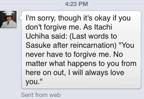 senjougahara:  so a few weeks ago this guy made a post on facebook about how he thinks homosexuality is gross so i got really mad and unfriended him and earlier today he messaged me and this was his apology