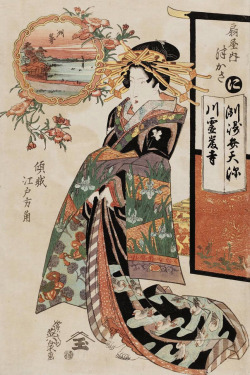 thekimonogallery:  Tsukasa of the Ogiya. Ukiyo-e woodblock print, about 1830's, Japan, by artist Keisai Eisen.
