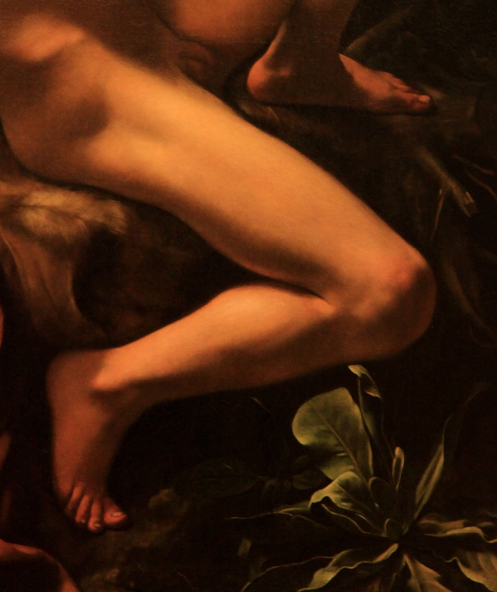 "tierradentro:  Detail from Caravaggio's ""Saint John the Baptist (Youth with Ram)"", 1602."