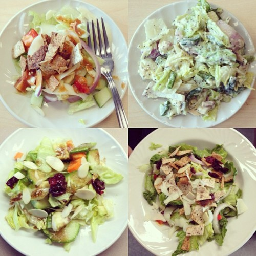 endlessfragments:  Salads we made in nutrition class ✌🍴