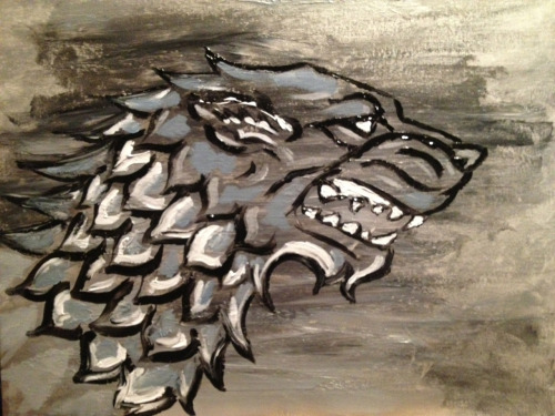 © 2013 Megan Yiu. Stark: Winter is coming Game of Thrones acrylic painting.