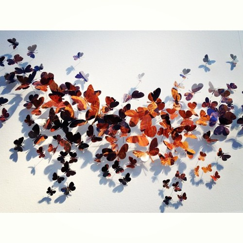 last post from artMRKT. butterflies in the shape of a butterfly. this piece was insanely expensive #sf #sanfrancisco #artMRKT #art #events #artgalleries #chandelier #lighting #skeletons #skulls #butterflies #paper #artinstallation  (at Fort Mason)