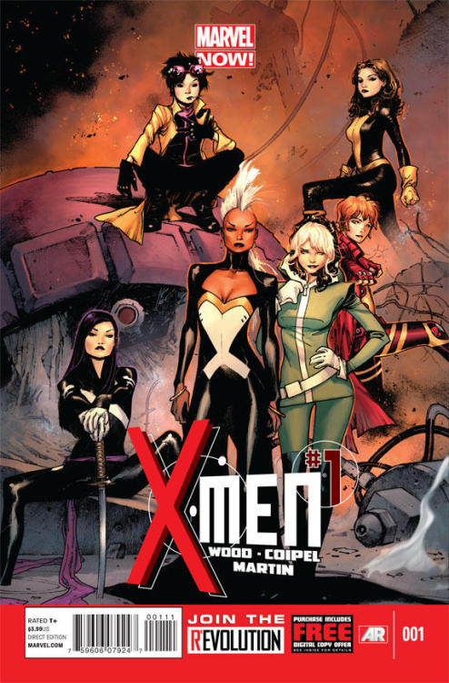You guys. X-MEN #1 by Brian Wood, Olivier Coipel & Laura Martin featuring Storm, Rogue, Rachel Grey, Kitty Pryde, Jubilee & Psylocke. April 2013. SO EXCITED.  More info about X-MEN in this interview with Brian Wood.