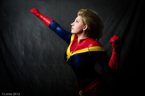 "Captain Marvel Costume by me, Modeled by me, BelleChere Photo taken by LJinto, at NYCC 2012 ""Folks want to blame someone for gals like us. ""Her daddy was unkind"" or ""some fella broke her heart""…Hogwash. You and me've always been like this. Always a little removed. Always……Dreaming.Of higher, further, faster…More. Always more.We came into this world spittin' mad, running full bore… To or from what, I ain't never been able to tell.Over the years, I've come to think of these traits as the shared attributes of a chosen people.The lord put us here to punch holes in the sky.And when a soul is born with that kind of purpose, it'll damn sure find a way. We're gonna get where we're going, you and me. Death and indignity be damned. We'll get there, and we will be the stars we were always meant to be."""