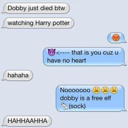 How could you be so heartless? 💔 @holaimdora #harrypotterprobs #wereharrypotternerds #lol #dobbyisfree #sock