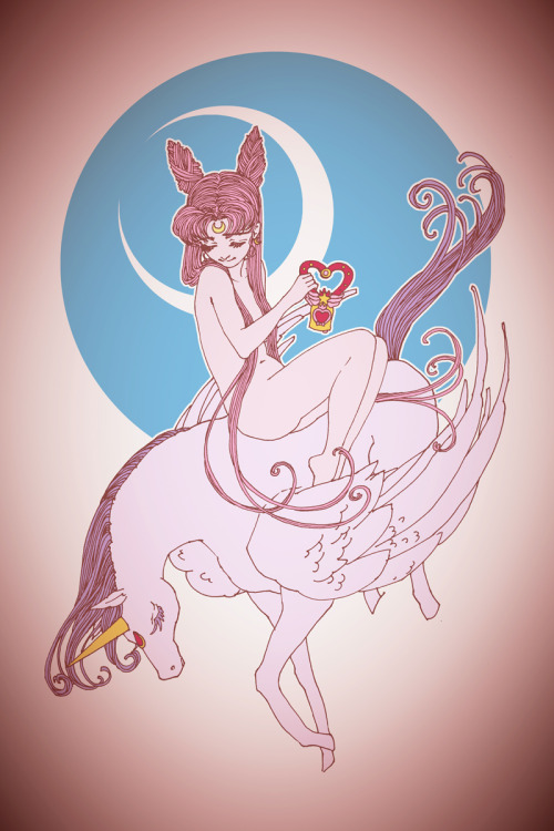 artoftrungles:  And in the continued theme of the night, another Sailor Moon couple of sorts. Here's Mini Moon as Lady Godiva and Pegasus as the steed!
