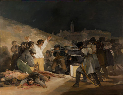 collectivehistory:  The Third of May 1808 (Execution of the Defenders of Madrid), painting by Francisco Goya ca. 1814 This painting was commissioned by the provisional government of Spain, upon Goya's suggestion, to commemorate the invasion of Spain by Napoleon's troops in 1808. At the time it was painted, the painting was considered groundbreaking and revolutionary, as it presents the horrors of war that had heretofore not been openly illustrated. The painting focuses on one man, illuminated in white light in the middle of the painting, arms held out to the sides, facing a French firing squad. His slain companions litter the ground. It is thus considered one of the first pieces of modern art.