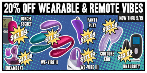 20% OFF ALL WEARABLE & REMOTE VIBES! This Weekend Only! Now Through May 19th!