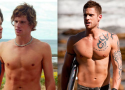 DAILY DOSAGE OF 'HOME & AWAY' RIVER BOYS GOODNESS - DAN EWING'S MULTIPLE SUMMER BAY PERSONALITIES : RUEBEN VS HEATH We've all come to love him as seriously sexy Heath Braxton on 'Home & Away', but it turns out that Dan Ewing's Summer Bay debut was not with this River Boy role.  Ewing previously played bad boy Reuben Humphries on the hit Aussie drama back in 2005, with a comparatively fit body, but longer hair and no tattoos.  Have YOUR say!  Are you team Reuben or Heath?  For us, there's something about 'blood and sand' that gets our heart racing! Image Source: Channel 5