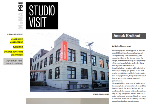 profile on MOMA PS1's page called 'studio visit'