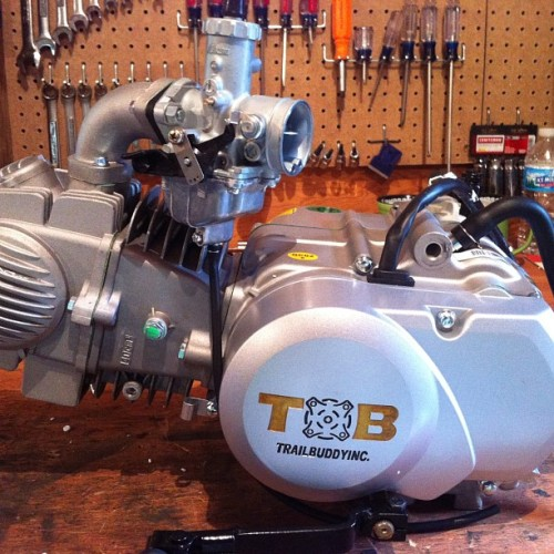 New 140cc motor for my pit bike. Now when I crash it will hurt really bad haha. #pitbike #xr50 #crf50 #honda #trailbuddy #motorcycle