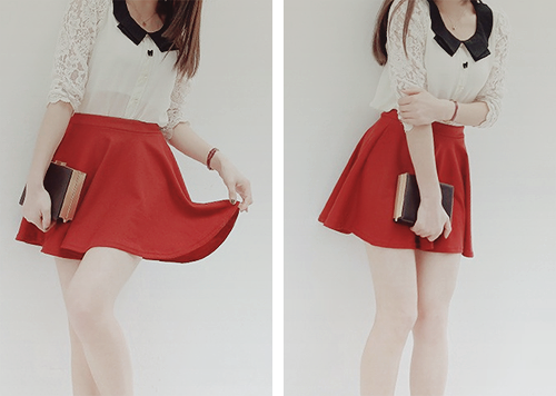 melancholylove:  (solid color cotten blend skirt - $5.17)
