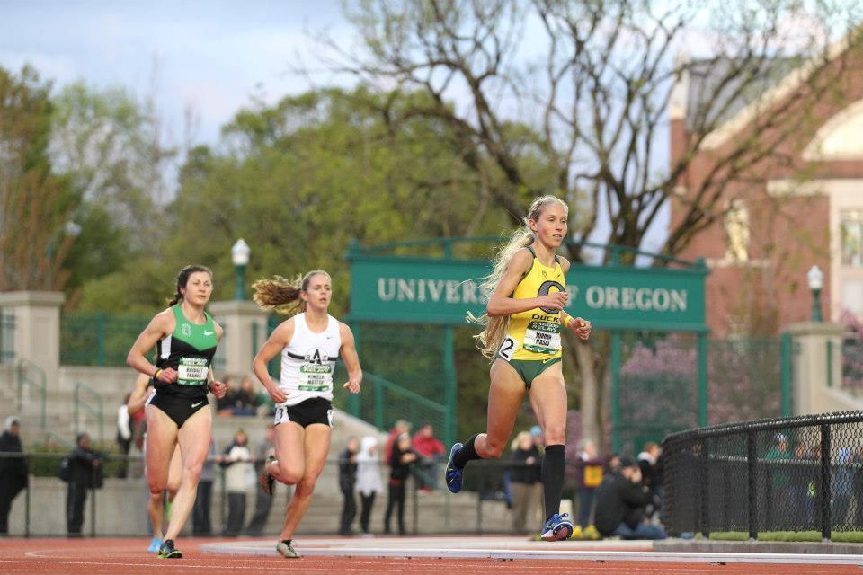 milesmeterskilometers:  Hasay at Oregon Relays.  Every time I see her and her flowing mane running around Eugene, my brain subtly whispers: