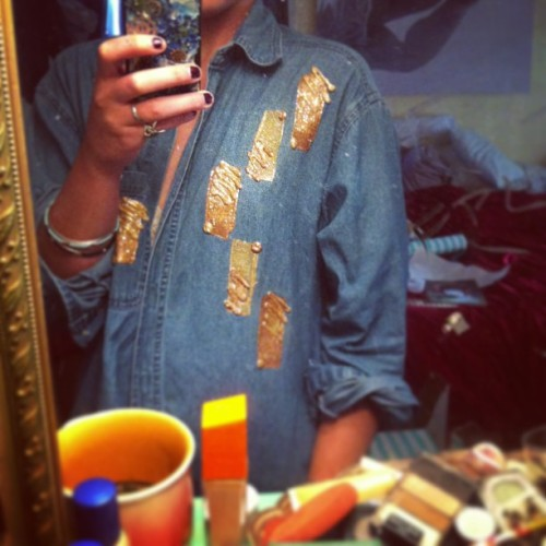 Most recent thrift store find… Puff paint for the win! #90s #denim #diy #kickinitoldschool