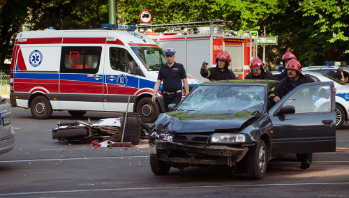 Motorcycle crash, Cracow. Everyone survived, fortunately.