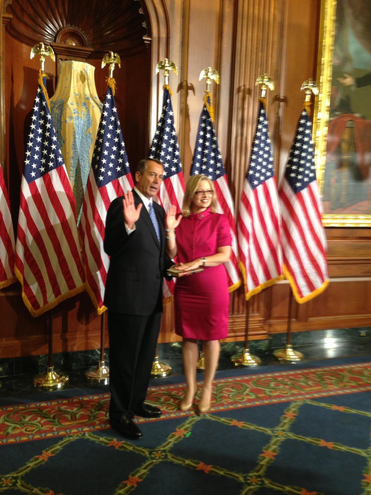 "shortformblog:  ryanoshea:  Rep. Kyrsten Sinema, first Congressperson to officially describe her religion as ""none,"" is sworn in not on the Bible, but on the document she's actually supposed to be protecting and upholding—the Constitution. Edit: She's also the first openly bisexual Congressperson. (via eyesdriftskyward) [Fun fact: James Madison remains the only president to take his oath of office on a book of laws, rather than the Bible.]  While making no commentary on the religious angle at play, doesn't it seem like using the U.S. Constitution for swearing-ins makes a lot more sense, as a function of government?"