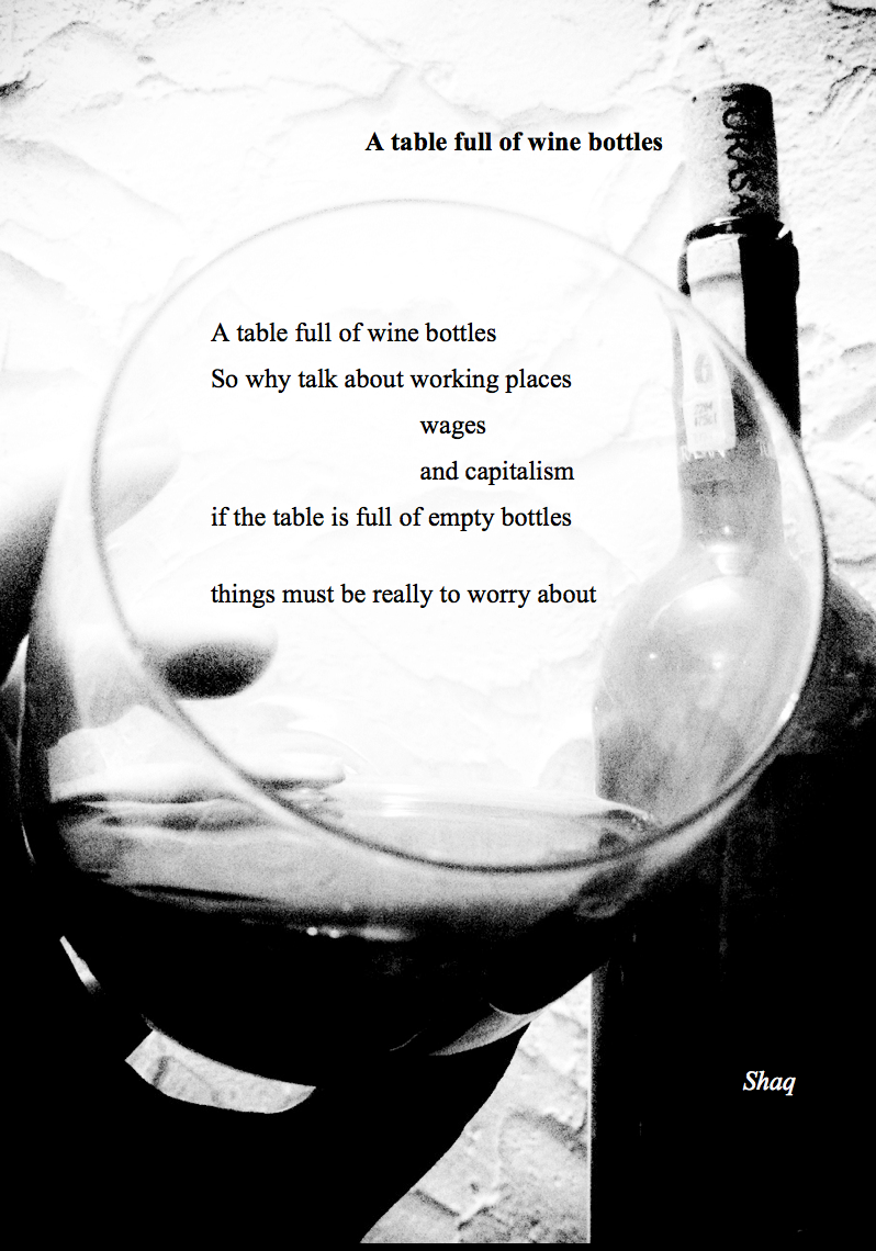 A table full of wine bottles Poem by Shaq Holyday