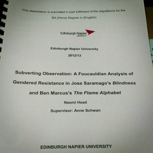 My dissertation is in… I can have a life again.