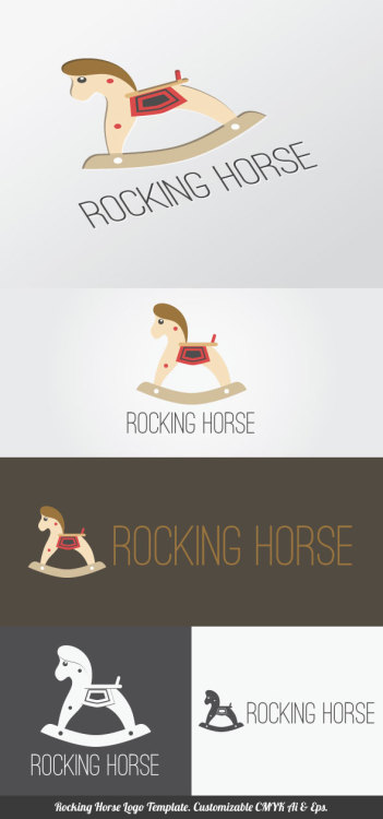 Rocking Horse Logo Template you can use for your trademark, branding identity or commercial brand. It is good for your company, corporate, club, organization & community, shop related with toys and kids and more. You can apply it in your neon box, uniform, product package, business card, etc. It contained customizable CMYK Ai & Eps files that you can change colors, shape, text, font type, position and size easily. Single color version, vertical & horizontal version included. Fonts are not included but you can obtained free from specific website that indicated in the font links file. Font links & license included in the main file.  Enjoy!  Download here: http://graphicriver.net/item/rocking-horse-logo-template/4372501