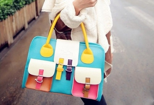 fashion-n-beauty:   Women's Tote With Colorful Splicing Pockets Belts Zipper Design