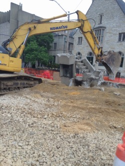On library mall, the preachers stairs are coming down.
