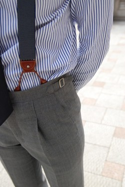 menstyle1:    FOLLOW for more pictures  Pencil stripe shirt, grey slacks with braces err suspenders