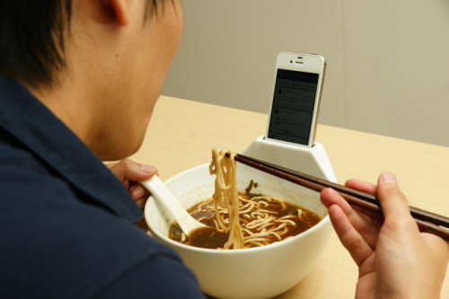 laughingsquid:  Anti-Loneliness Ramen Bowl iPhone Dock