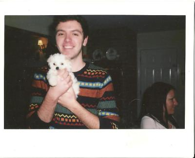finding-homo:  myself and my puppy charlie  There are other people with charlie dogs out there!! yay!!