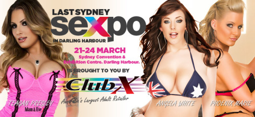 I can't wait for Sydney Sexpo Australia - March 21-24! I will be on the porn star stage with Phoenix Marie and Teagan Presley   Check the website for times -   http://www.sexpo.com.au/attraction-detail/295/Pornstars+%40+Sexpo