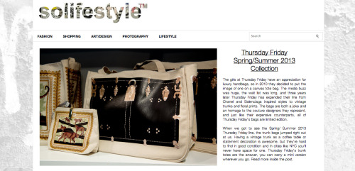 Check out this article by Solifestyle for a special sneak peek into our Spring 2013 collection. We're releasing our new launch soon, so stay tuned! Hope you're just as excited as we are!