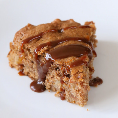 veganfoody:  Spiced Apple Cake Drizzled with Salted Caramel