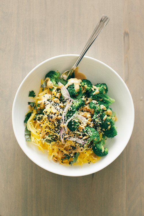 in-my-mouth:  Spaghetti Squash Noodle Bowl with Lime Peanut Sauce