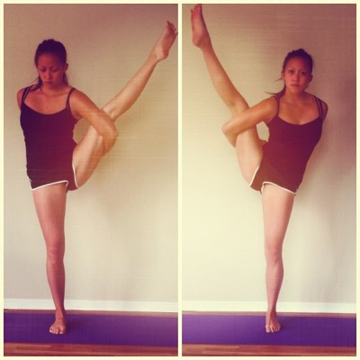 Morning! #HappyFriday. I'm playing w/ my #SvargaDvidasana #pose #progress, both sides, #inspired by coming across @criocharlie. #Yogi #yoga #stretch #namaste #health #body #love