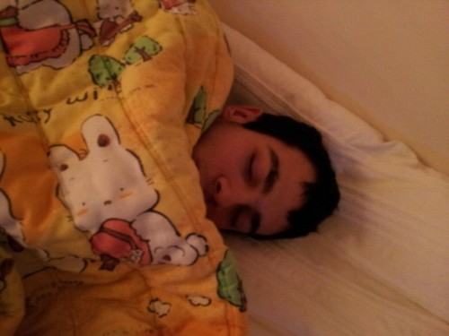 Awwww he looks so cute when he sleeps.:3 Sleeeeepy heeeeead.~:)