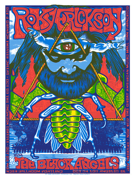 Roky Erickson/The Black Angels gig poster by John Howard