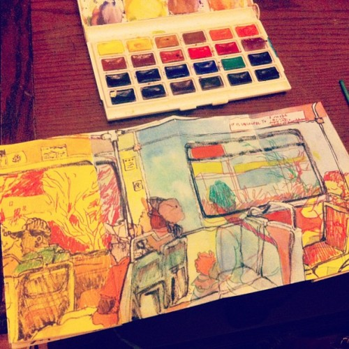 "texanunicornmantis:  Late night watercolorin for visual journalism!  This is part of my next book that I am tentatively calling ""4 train rides."""