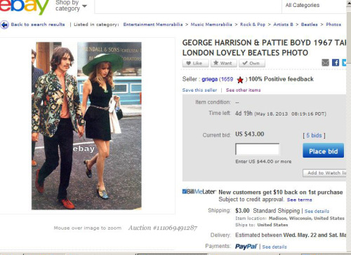 "truthaboutthebeatlesgirls:  THIS MAKES ME SICK! Ebay seller griega has copied dozens of my jpg scans posted online, made small 4""X6"" prints of them and listed them on ebay at typically a starting bid of $14.00. This scan of George and Pattie arriving at the Apple Tailoring shop launch party on May 22, 1968 I made from a book photo years ago is currently bid up to $43.00! The whole book can be had for much cheaper and the photo is full page size, not 4""X6"". I feel sorry for these unsuspecting buyers being ripped-off like this. They could copy any online scan and make their own print for about a dollar or less. Unfortunately ebay now makes it impossible to contact other bidders or I would warn them. And copyrights don't really apply to such old material. Hopefully a few of griega's customers will see this before they waste their money. Source of scan: rip-off ebay seller griega   THIS IS SO F*** UNFEAR"