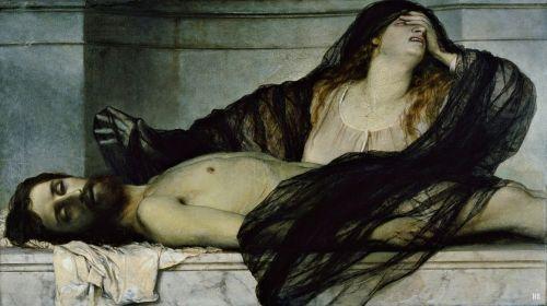 hadrian6:  Mary Madaline lamenting over the dead Christ. 1867. Arnold Bocklin. Swiss 1827-1901. oil/canvas. http://hadrian6.tumblr.com