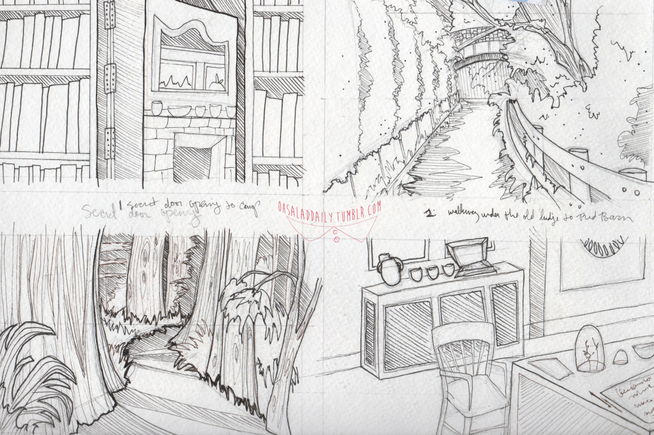 nancy drew storyboards, week 2 (secret door, forest transition 1, forest transition 2, interior police station)